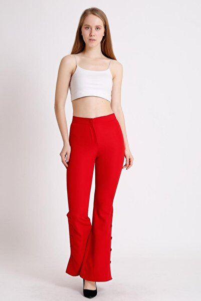 Deppoist Kadın Paça Düğme Detay Ispanyol Pantolon
