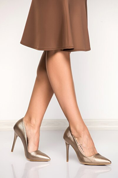 Fox Shoes Platin Kadın Topuklu Ayakkabı 8922151909