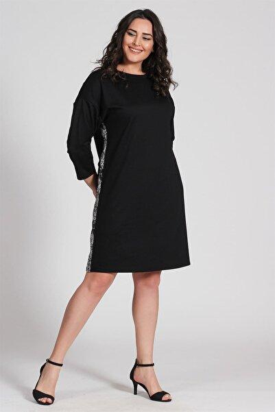 Seamoda Kadın Gümüş Yılan Şeritli Elbise-Siyah-Bb PRA-236794-054862