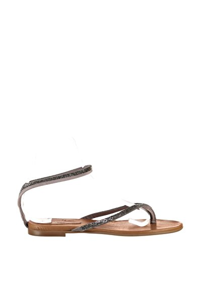 İnci Hakiki Deri Koyu Gri Kadın Sandalet 120130001007