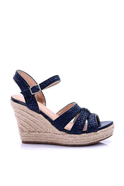 Derimod Lacivert Kadın Dolgu Topuklu Ayakkabı