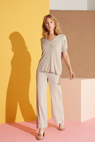 GİZİA Kadın Geniş Paça Taş Rengi Pantolon M19Y1Q300111