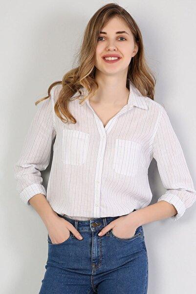 Colin's KADIN Regular Fit Shirt Neck Kadın Açık Mavi Uzun Kol Gömlek CL1042550
