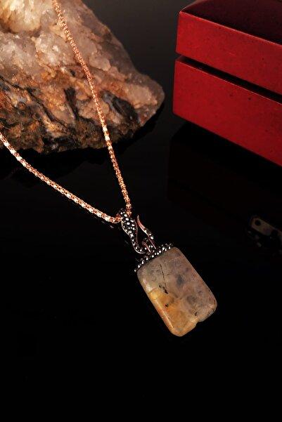 Dr. Stone Dr Stone Doğaltaş Kadın Sitrin Taşı Rose Altın Kaplama Kolye XKRB306
