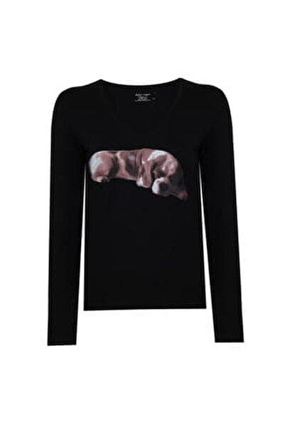 Kadın Narrow Cut Tshirt Uzun Kollu Siyah Köpek Baskılı V Yaka