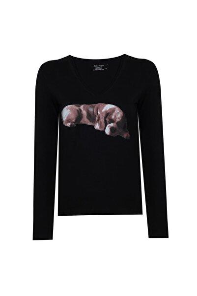 BY H Kadın Narrow Cut Tshirt Uzun Kollu Siyah Köpek Baskılı V Yaka