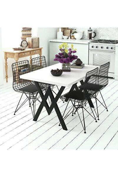 Evdemo Parla 4 Sandalyeli Mutfak Masası Beyaz