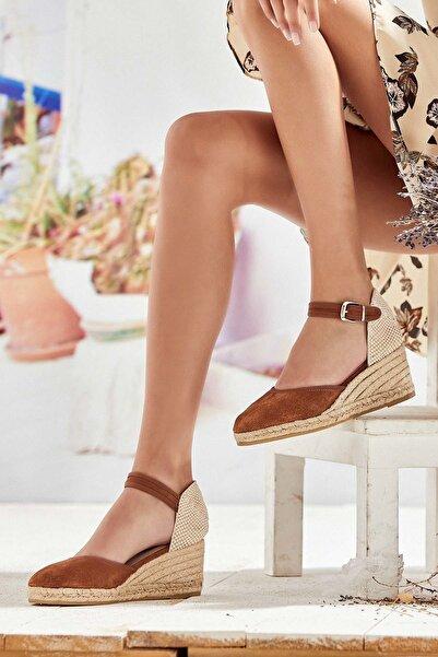 Derimod Hakiki Deri Taba Kadın Dolgu Topuklu Ayakkabı