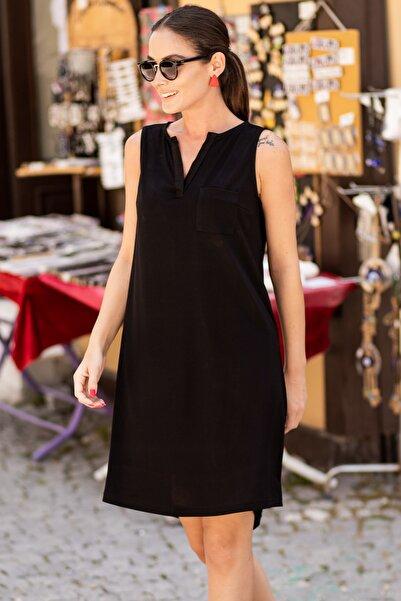 armonika Kadın Siyah Cepli Midi Boy Elbise ARM-19Y001122