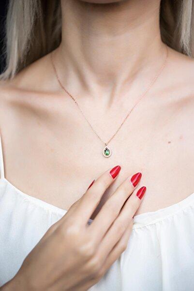 İzla Design Kadın Damla Model Zümrüt Taşlı Rose Kaplama Gümüş Kolye İZLASLVR00590