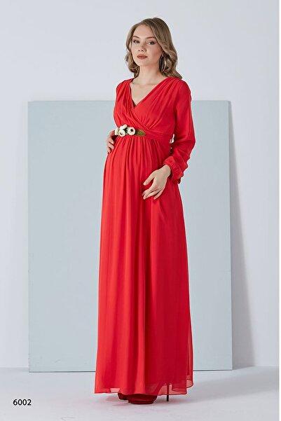 Entarim Hamile Şifon Baby Shower Elbise Kırmızı