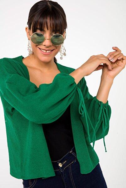 By Saygı Kadın Yeşil İspanyol Kol Bağcıklı Triko Likra Hırka Yeşil S-20K3330002