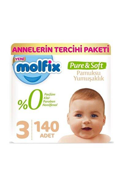 Molfix Pure&Soft Bebek Bezi 3 Beden 4-9 Kg 70'li 2 Paket 140 Adet