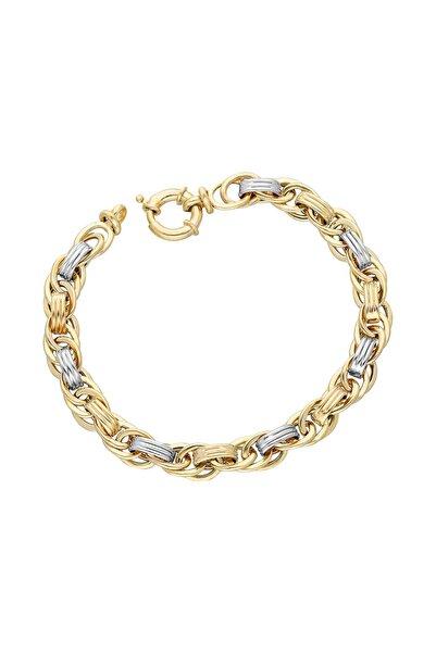 Chavin Hallow Altın Modeli Mikron Kaplama Gümüş Bileklik dy94