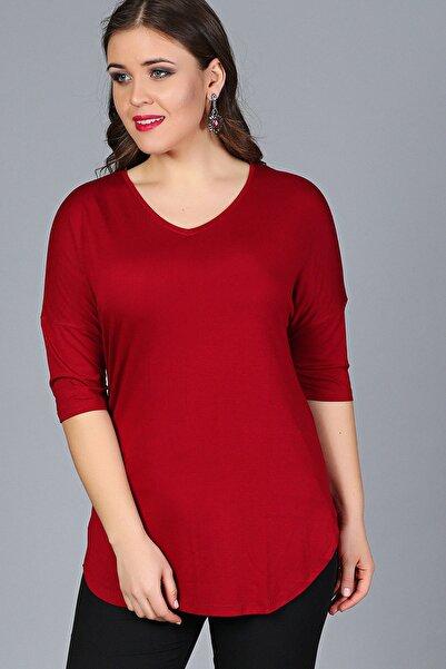 Moda Cazibe Kadın Bordo Yan Yırtmaç Yarım Kol Bluz M9312