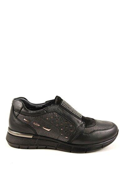 Forelli Hakiki Deri Siyah Kadın Comfort Ayakkabı 24206