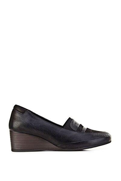 Cabani Hakiki Deri Siyah Kadın Dolgu Topuklu Ayakkabı 9KBE05AY007700