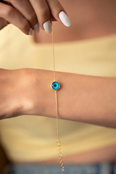 İzla Design Kadın Nazarlık Model Mineli Altın Kaplama Gümüş Bileklik PKT-İZLASLVR00701
