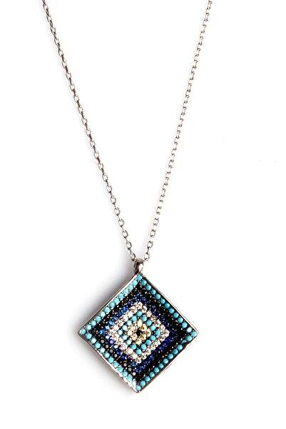 Sahra Kadın Zirkon Süslemeli Nazar Tasarım 925 Ayar Gümüş Kolye KLY-0066-22