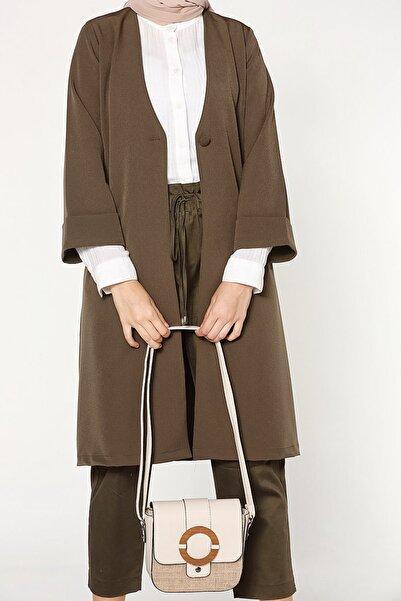ALLDAY Haki Düğmeli Cepli Uzun Ceket