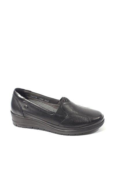 Forelli 25115 Kadın Siyah Deri Kemik Çıkıntısına Özel Comfort Ayakkabı