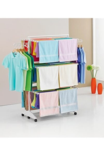 3 Katlı Çamaşırlık Tekerlekli Lüks Çamaşır Kurutmalık Askısı