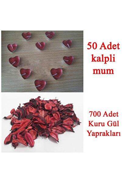 Parti dolabı 50 Mum + 700 Kuru Gül Yaprağı, Kalpli Mum ve Kuru Gül Yaprakları