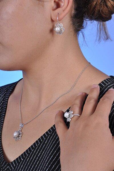 Midyat Nurtaş Gümüş Kadın İnci Taşlı Papatya Model Oksitli Telkari Gümüş Üçlü Set MNG201013542
