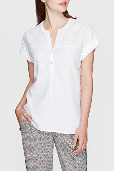 Mavi Keten Karışımlı Beyaz Bluz