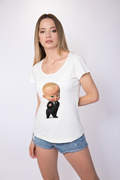 Angemiel Wear Patron Bebek Pamuklu Kadın BeyazTişört  A0041TK