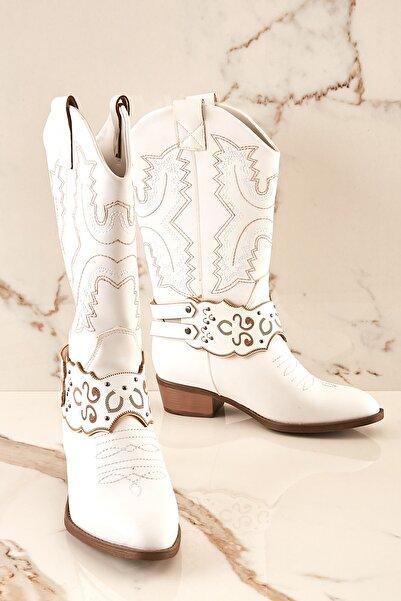 Bambi Beyaz Kadın Çizme K0686173309