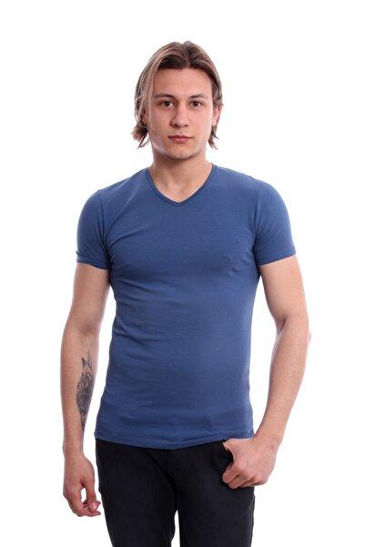 Diandor V Yaka Erkek Tshirt İndigo 171916