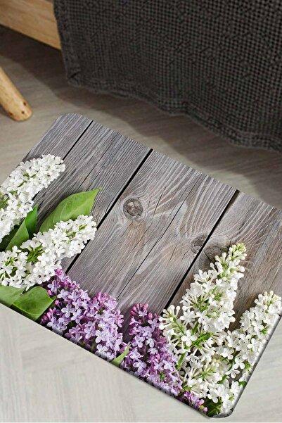 Else Halı Canel Mor Tahta Orkideler Modern Ev İçi Kapı Önü Paspası 50X80Cm