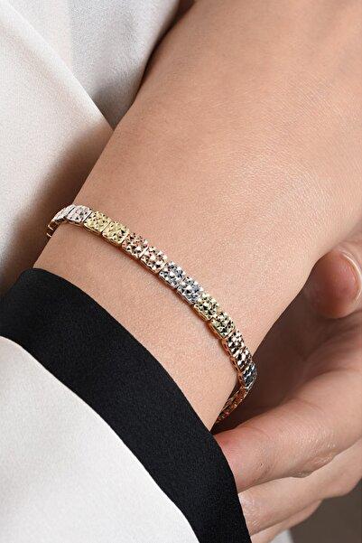 PinkGoldStore Diamond Cut Üç Renkli Kare 14 Ayar Altın Bileklik