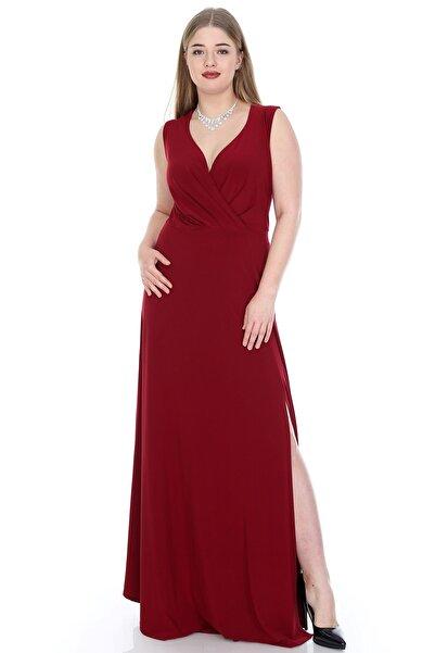 ANGELINO Kadın Bordo Yandan Yırtmaçlı Abiye Elbise T106359