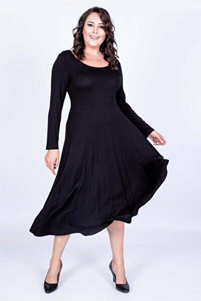 MYLİNE Kadın Siyah Balerin Yaka Elbise 35020