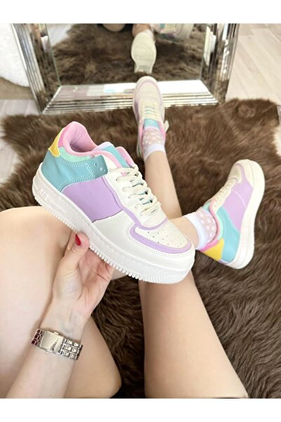 ELSESHOES Kadın Krem Lila Sneaker