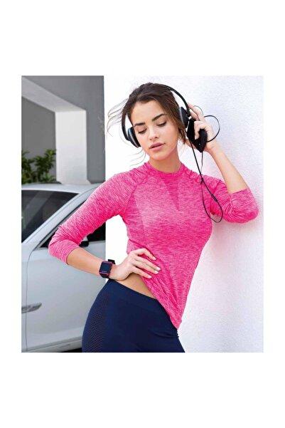 Yeni İnci Fosforlu Pembe Uzun Kol Sporcu T-shirt
