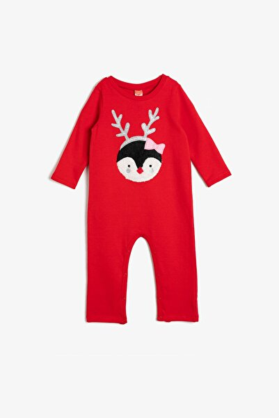 Koton Erkek Bebek Kırmızı Yeni Yil Temali Tulum