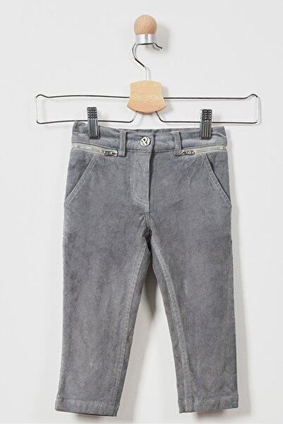 Panço Gri Kız Çocuk Kadife Pantolon