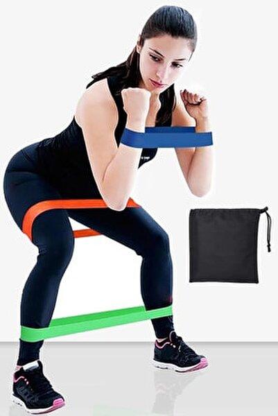 Çantalı 3 Lü Farklı Dirençte Aerobik Bandı Hafif Orta Sert Pilates Squat Çalışma Lastiği Egzersiz