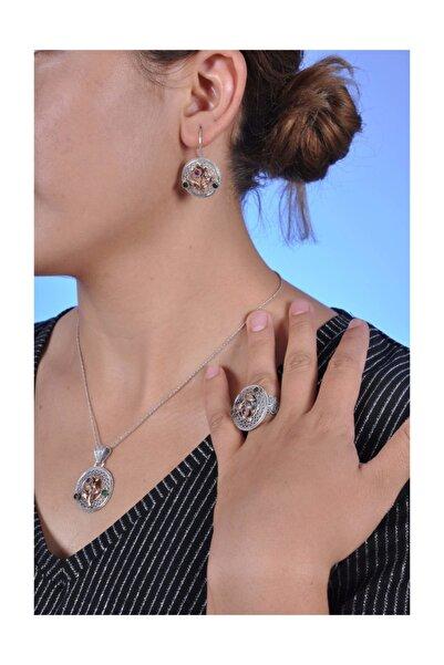 Midyat Nurtaş Gümüş Çiçek Model Oksitli Telkari Bayan Gümüş Üçlü Set [kod:201354103]
