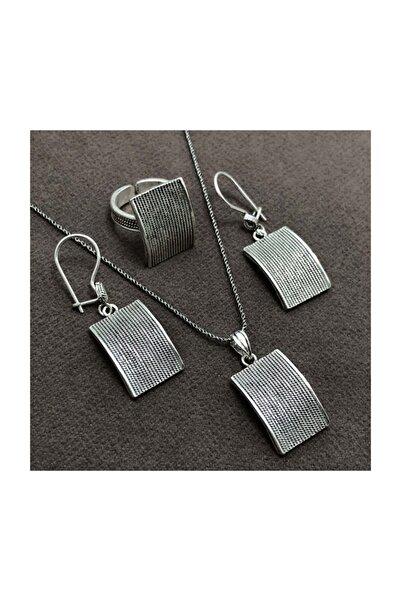 Midyat Nurtaş Gümüş Kare Model Gümüş Bayan Hasır Üçlü Set [kod:201013504]