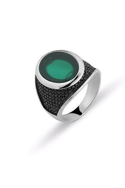 MySilvers Yeşil Akik Taşlı Erkek Yüzüğü Erkek Oksit Yeşil