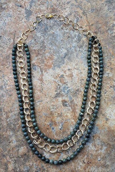 Stoneage Serpentin Doğal Taş Bayan Kolye