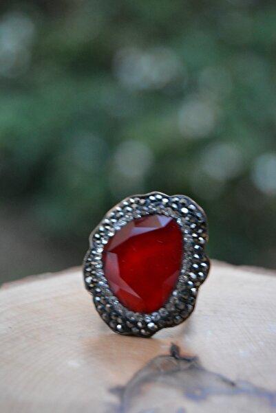 Stoneage El Yapımı Kırmızı Kristal Ayarlanabilir Yüzük