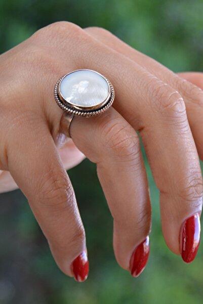 Stoneage El Yapımı Sedef Doğal Taş Ayarlanabilir Kadın Yüzük
