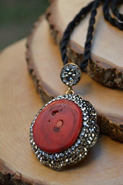 Stoneage Kırmızı Mercan El Yapımı Kadın Kolye