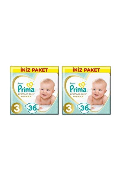 Prima Premium Care 3 Beden Midi 36 Adet Bebek Bezi X 2 Adet