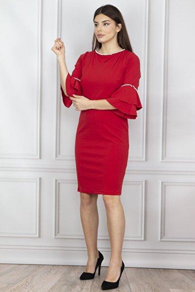 Şans Kadın Kırmızı İnci İşlemeli Elbise 26N12060